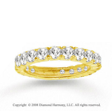 14k Yellow Gold Prong Round White Topaz Stackable Ring