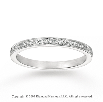 14k White Gold Sleek 1/6 Carat Diamond Stackable Ring