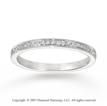 14k White Gold Stylish 1/5 Carat Diamond Stackable Ring