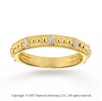 14k Yellow Gold Elegant Milgrain Diamond Stackable Ring