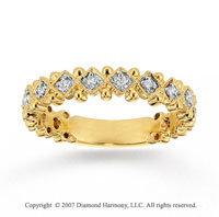 14k Yellow Gold Ornate 1/6 Carat Diamond Stackable Ring