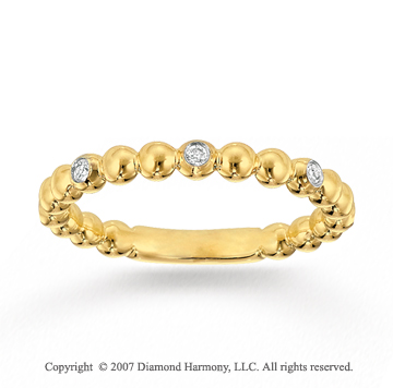 14k Yellow Gold Stylish 0.10 Carat Diamond Stackable Ring