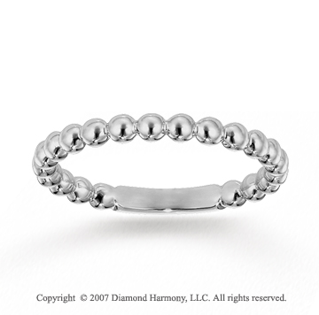 14k White Gold Stylish Bubble Pattern Stackable Ring