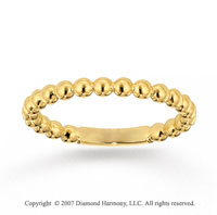 14k Yellow Gold Stylish Bubble Pattern Stackable Ring