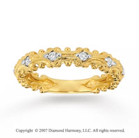 14k Yellow Gold Ornate 1/5 Carat Diamond Stackable Ring