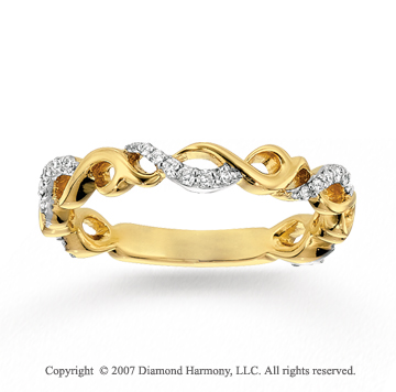 14k Two Tone Gold Elegant Twist Diamond Stackable Ring