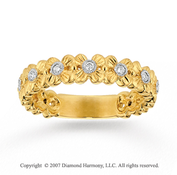 14k Yellow Gold Flower 0.12 Carat Diamond Stackable Ring