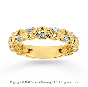 14k Yellow Gold Wheat Round Diamond Stackable Ring