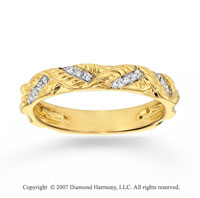 14k Yellow Gold Carved Stylish 0.10 Carat Diamond Stackable Ring