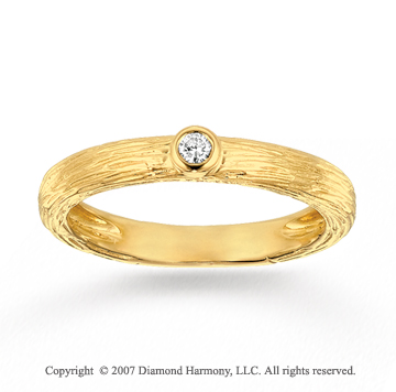 14k Yellow Gold Carved Elegance Diamond Stackable Ring