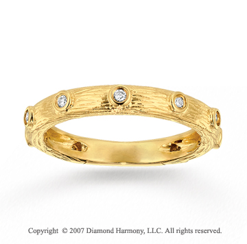 14k Yellow Gold Carved Stylish Bezel Diamond Stackable Ring