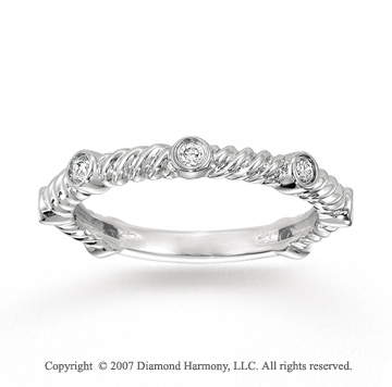 14k White Gold Rope 0.18 Carat Diamond Stackable Ring