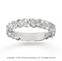 14k White Gold Stylish Braid 0.15 Carat Diamond Stackable Ring