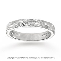 14k White Gold Elegant Carved 1/6 Carat Diamond Stackable Ring