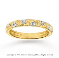 14k Yellow Gold Elegant Carved Prong Diamond Stackable Ring