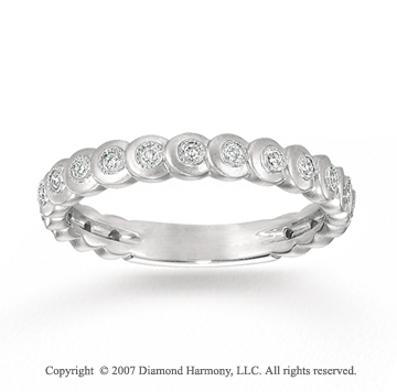 14k White Gold Stylish Circles 1/6 Carat Diamond Stackable Ring