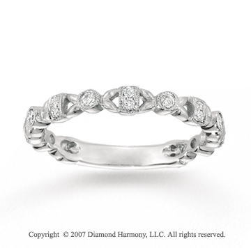 14k White Gold Filigree 1/4 Carat Diamond Stackable Ring
