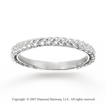 14k White Gold Stylish Braid Modern Stackable Ring