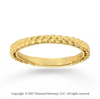 14k Yellow Gold Stylish Braid Modern Stackable Ring