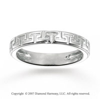14k White Gold Classic Style Greek Key Stackable Ring