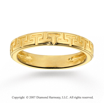 14k Yellow Gold Classic Style Greek Key Stackable Ring