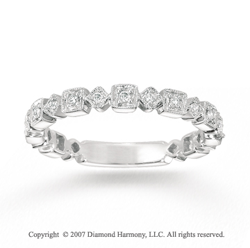 14k White Gold Geometric 1/6 Carat Diamond Stackable Ring