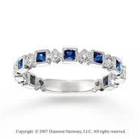 14k White Gold Geometric Diamond Sapphire Stackable Ring