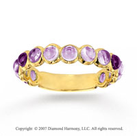 14k Yellow Gold Bezel Cabochon Amethyst Stackable Ring