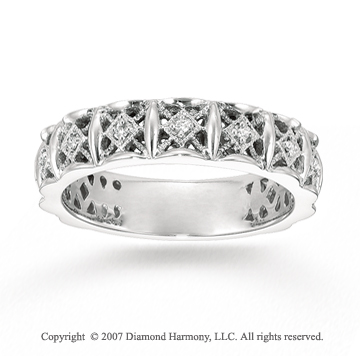 14k White Gold Stylish Filigree Prong Diamond Stackable Ring