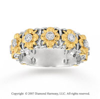 14k Two Tone Gold Elegant Floral 1/6 Carat Diamond Stackable Ring