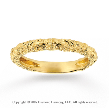 14k Yellow Gold Classic Elegance Carved Stackable Ring