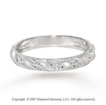 14k White Gold Marquise Prong Diamond Stackable Ring