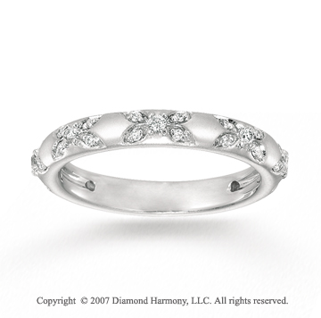 14k White Gold Flower Prong Diamond Stackable Ring