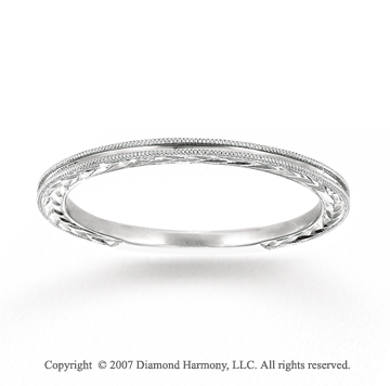14k White Gold Classic Style Carved Thin Stackable Ring