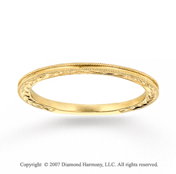 14k Yellow Gold Classic Style Carved Thin Stackable Ring
