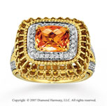 14k Yellow Gold 1/3 Carat Diamond Citrine Statement Ring