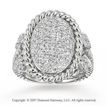 14k White Gold Oval 2/3 Carat Diamond Statement Ring