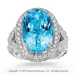 14k White Gold Elegance Diamond Blue Topaz Statement Ring