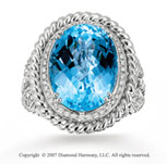 14k White Gold 1/3 Carat Diamond Blue Topaz Statement Ring