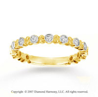 18k Yellow Gold Bezel 1/4 Carat Diamond Stackable Ring