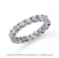 1 1/2  Carat Diamond Platinum Eternity Round Four Prong Band