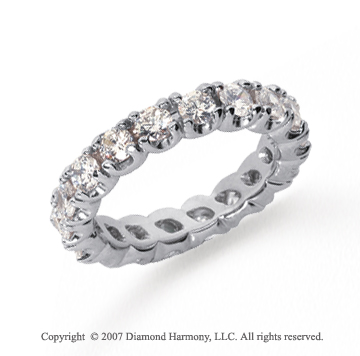 2 1/2  Carat Diamond Platinum Eternity Round Four Prong Band