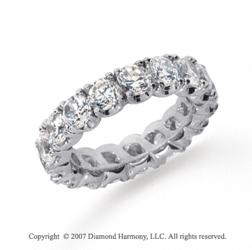4 1/2  Carat Diamond Platinum Eternity Round Four Prong Band