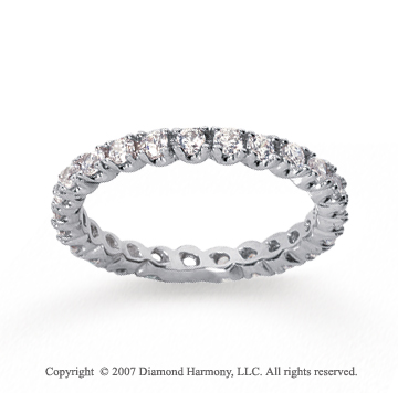 3/4  Carat Diamond 18k W Gold Eternity Round Four Prong Band