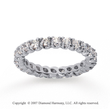 1  Carat Diamond 18k White Gold Eternity Round Four Prong Band