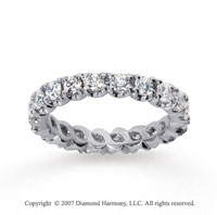 1 1/2  Carat Diamond 18k W Gold Eternity Round Four Prong Band