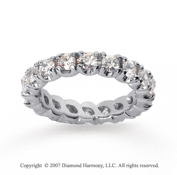 3  Carat Diamond 18k White Gold Eternity Round Four Prong Band