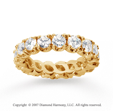 3 1/2  Carat Diamond 14k Yellow Gold Eternity Round Four Prong Band