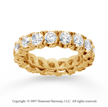 4 1/2  Carat Diamond 14k Yellow Gold Eternity Round Four Prong Band