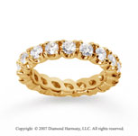 3  Carat Diamond 14k Yellow Gold Eternity Round Four Prong Band